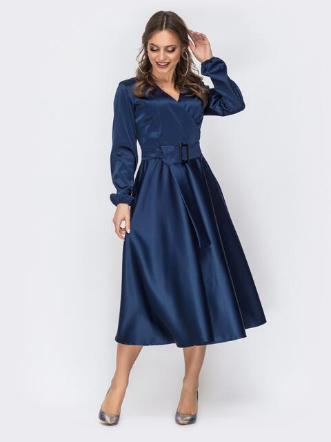 Тёмно-синее платье с лифом на запах 44157, фото 1