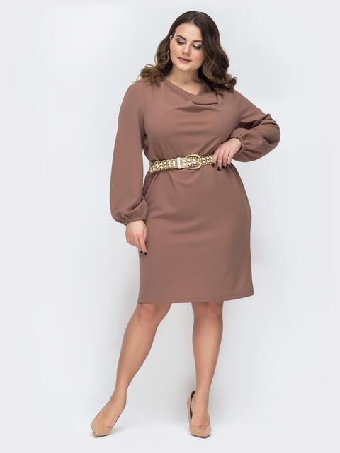 Бежевое платье батал с воротником-хомут 45268, фото 1