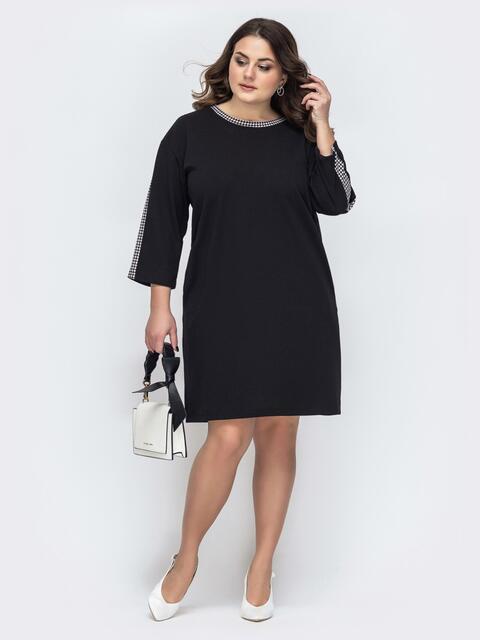 Чёрное платье батал прямого кроя 45264, фото 1