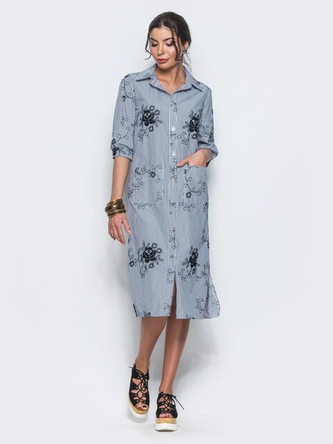 Хлопковое серое платье-рубашка с вышивкой 12535, фото 1