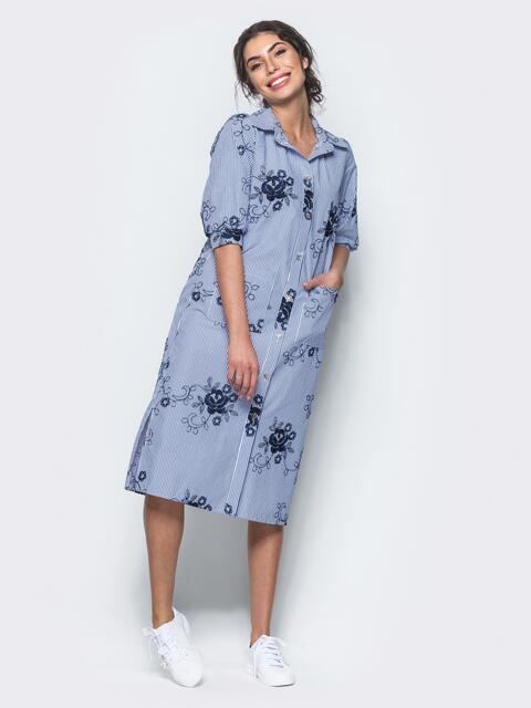 Хлопковое синее платье-рубашка с вышивкой 12537, фото 1