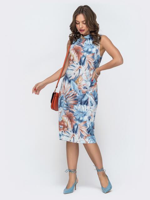 Платье с принтом и воротником-стойкой голубое 46837, фото 1