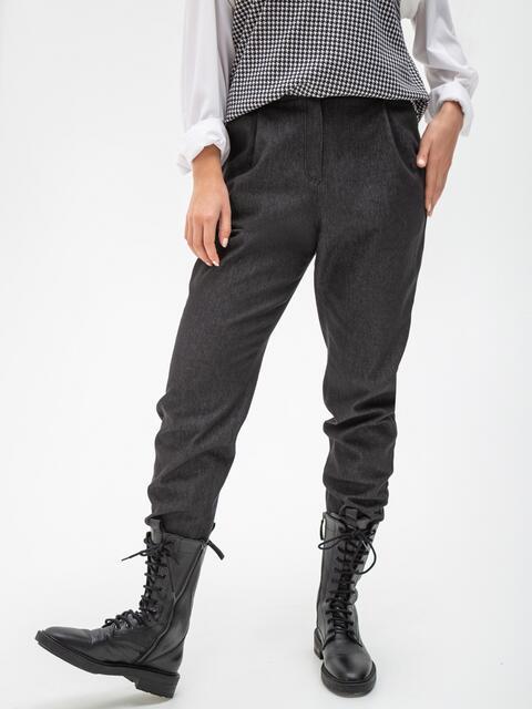Укороченные брюки из джинса с завышенной талией чёрные 51547, фото 1