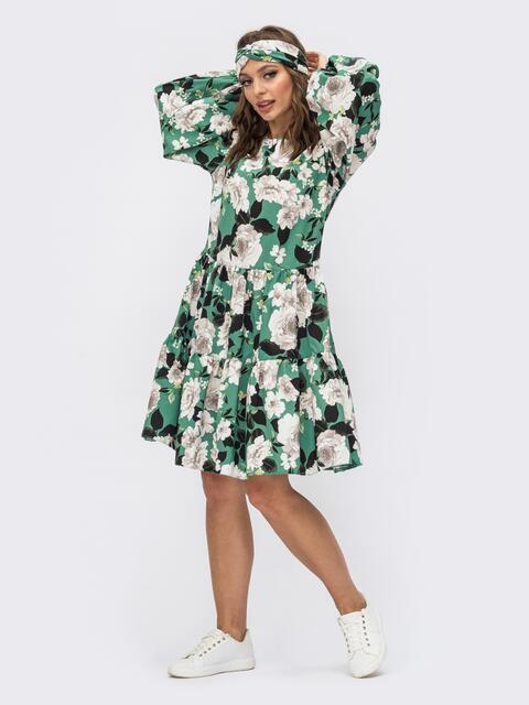 Зеленое платье с цветочным принтом и объемными рукавами 54082, фото 1
