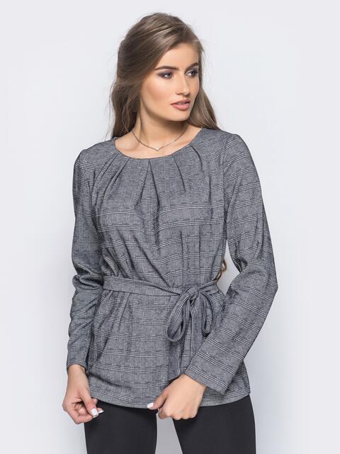 Блузка со складками на горловине и поясом в комплекте 16292, фото 1