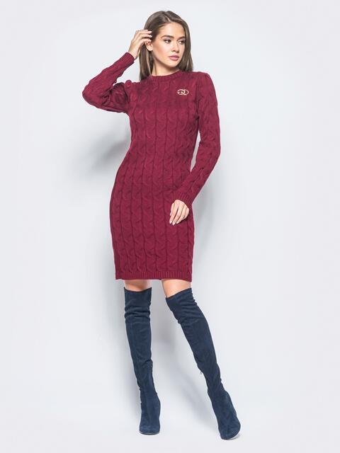 Бордовое вязаное платье с фурнитурой на полочке 15911, фото 1