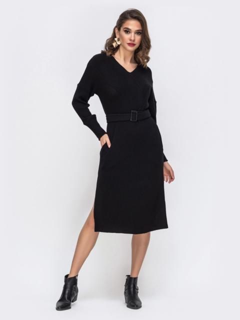 Чёрное платье прямого кроя со спущенной линией плеча 43062, фото 1