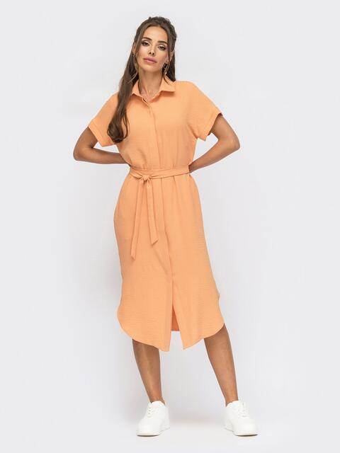 Оранжевое платье-рубашка из крепа с разрезами по бокам 53924, фото 1