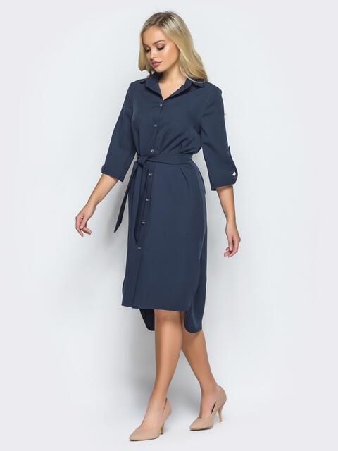 Платье-рубашка тёмно-синего цвета с удлиненной спинкой 16440, фото 1