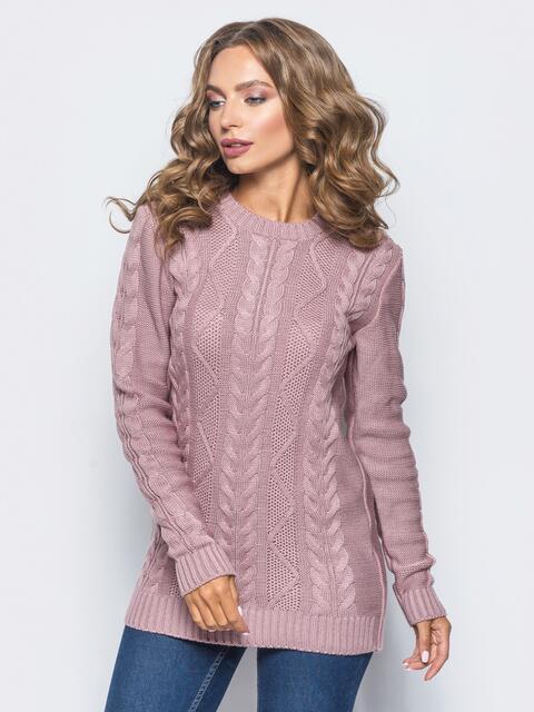 """Розовый свитер ажурной вязки с узором """"косы"""" 15973, фото 1"""