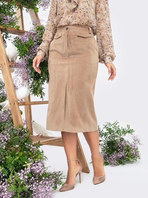 Вельветовая юбка с высоким разрезом спереди бежевая 44900, фото 1