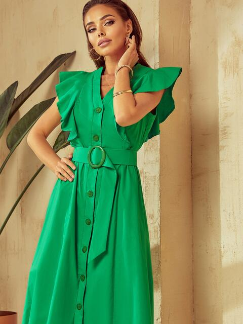 Зеленое платье с оборками и планкой с пуговицами по длине 53925, фото 1