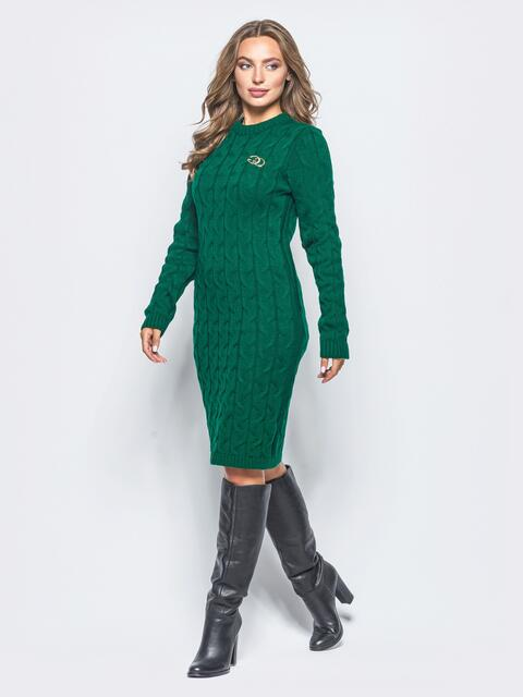 Зелёное вязаное платье с фурнитурой на полочке 15913, фото 1