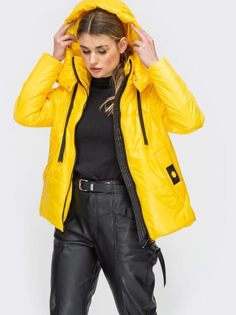 Демисезонная куртка с удлиненной спинкой желтая 45160, фото 1