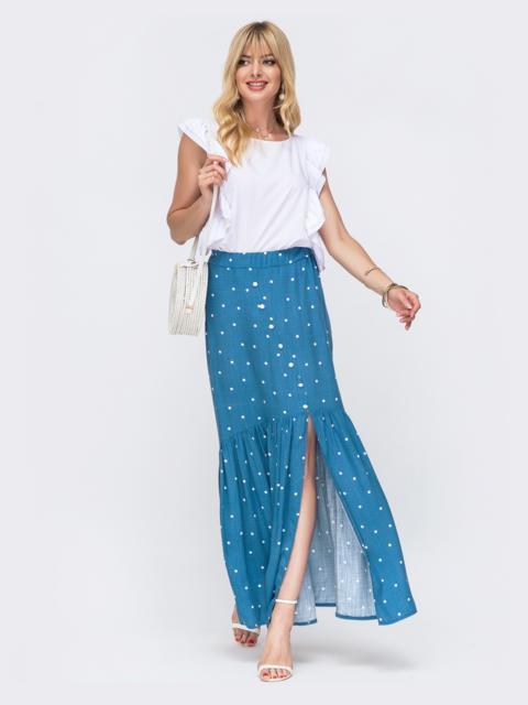 Комплект из блузки и длинной юбки голубого цвета в горох 49328, фото 1