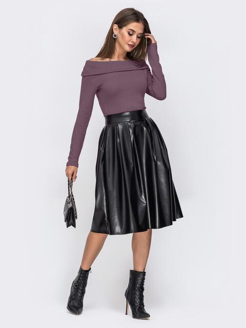"""Платье с вырезом """"лодочка"""" и юбкой из эко-кожи фиолетовое 52296, фото 1"""
