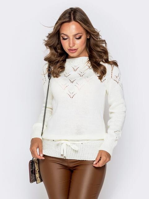 Ажурный свитер с кулиской по низу молочный 41164, фото 1