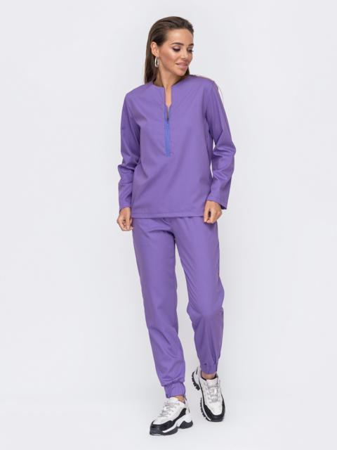 Брючный костюм фиолетового цвета с кофтой 53289, фото 1