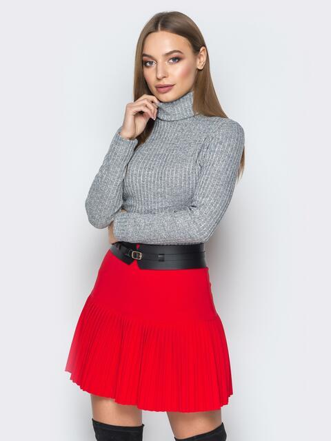 Красная плиссированная юбка 19208, фото 1