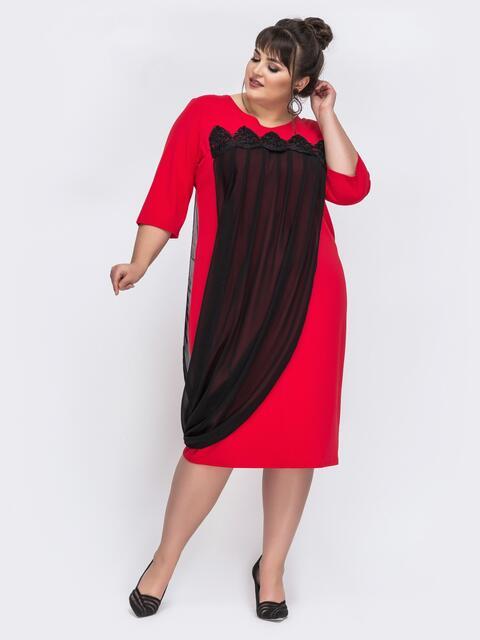 Красное платье большого размера с шифоном 44024, фото 1