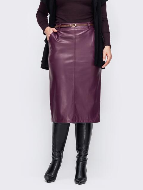 Бордовая юбка большого размера из экокожи 52794, фото 1