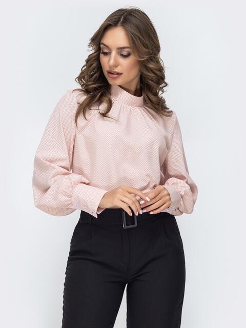 Розовая блузка в мелкий горох с воротником-стойкой 45038, фото 1