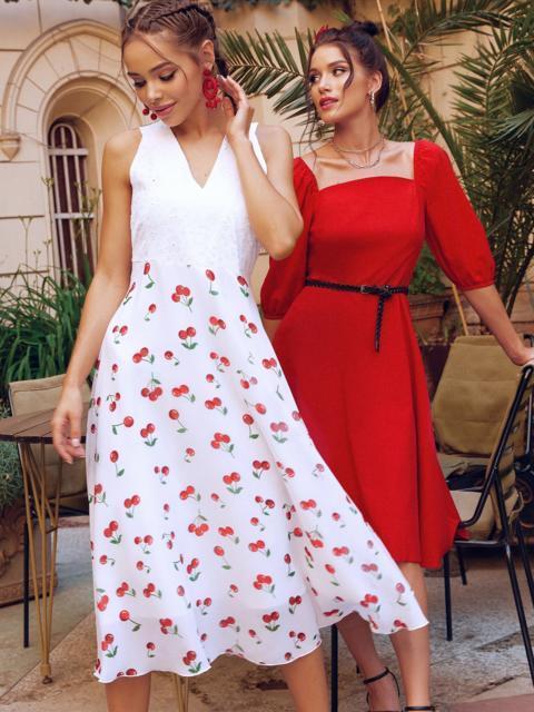 Белое платье-клеш из шифона с принтом и лифом из прошвы 54156, фото 1
