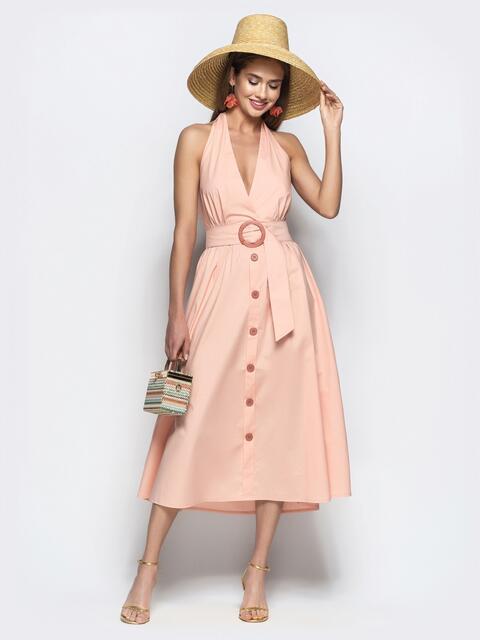 """Хлопковое платье пудрового цвета с вырезом """"петля"""" 22109, фото 1"""