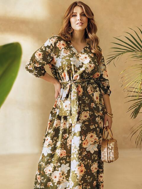 Платье большого размера приталенного силуэта цвета хаки 53730, фото 1