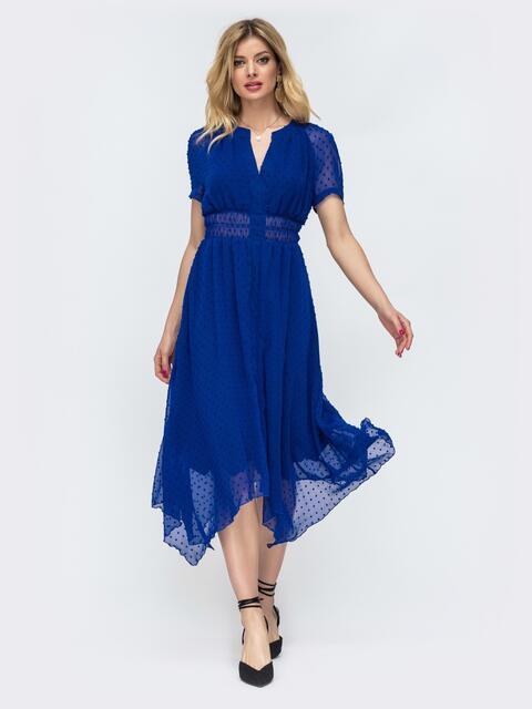 Платье с вафельной резинкой на талии и асимметричной юбкой синее 46820, фото 2