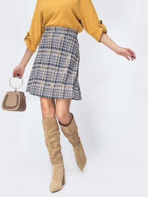 Трикотажная юбка-трапеция с напылением бежевая 44090, фото 1