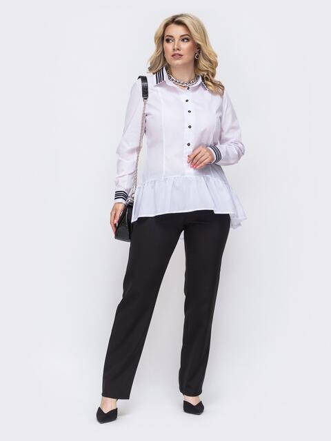 Брючный комплект батал из блузки с воланом по низу белый 50009, фото 1