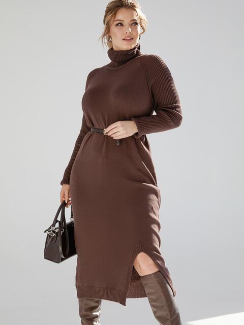 Коричневое платье большого размера мелкой вязки 53338, фото 1