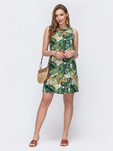 Платье-трапеция с принтом и вырезом по спинке зеленое 48260, фото 1