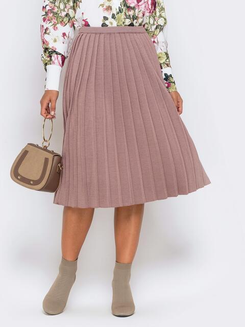 Вязаная юбка-плиссе пудрового цвета 41189, фото 1