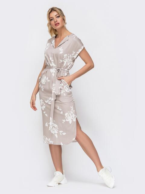 Бежевое платье с принтом и разрезами по бокам 45914, фото 1