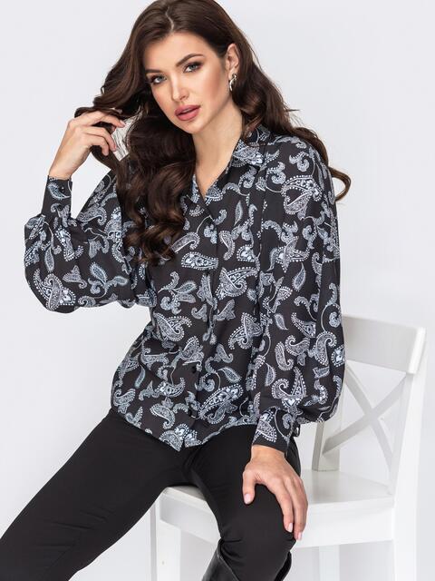 Блузка с принтом и объемными рукавами черная 51703, фото 1