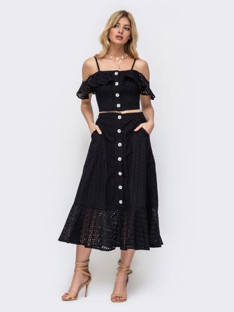 Хлопковый комплект из топа и юбки-полусолнце чёрный 45906, фото 1