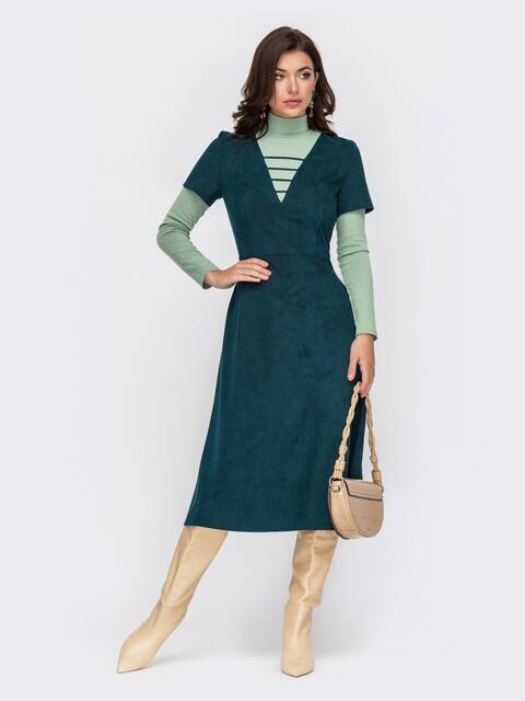Комбинированное платье из замши с юбкой-трапецией зеленое 51701, фото 1