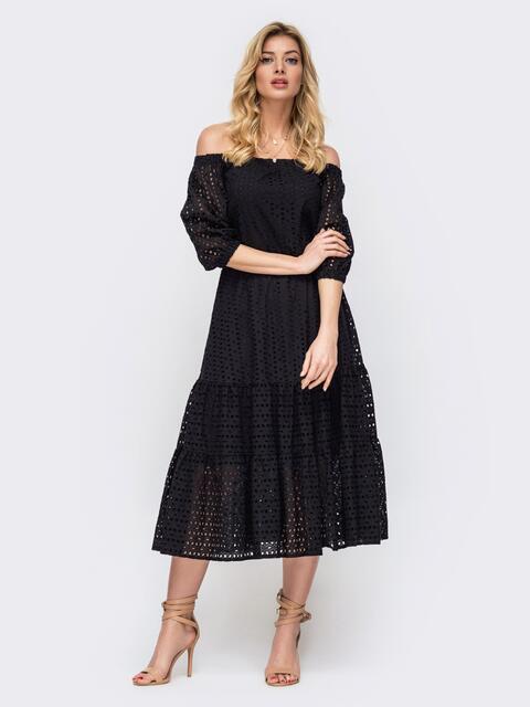Платье-макси из прошвы с вырезом и манжетами на резинке чёрное 45912, фото 1