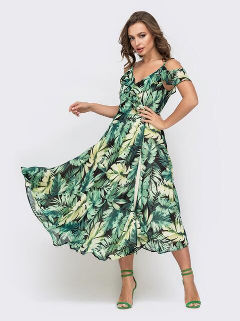 Платье с растительным принтом и открытыми плечами 45922, фото 1
