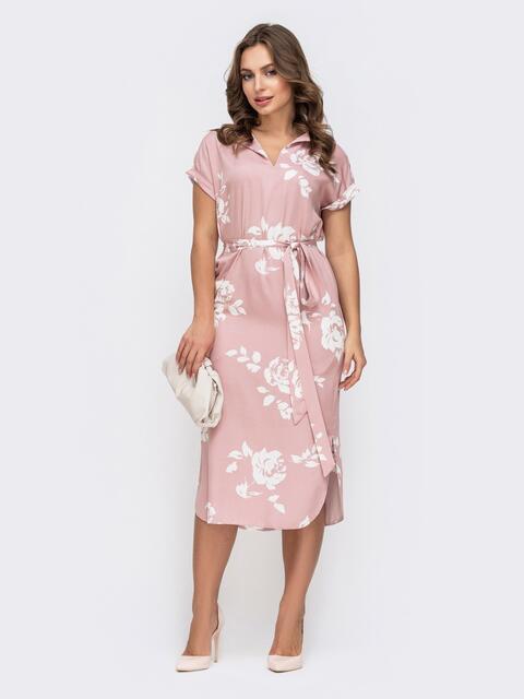 Розовое платье с принтом и разрезами по бокам 45915, фото 1