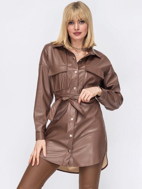 Удлиненная рубашка из экокожи коричневая 53295, фото 1