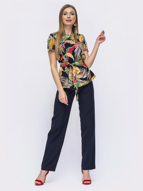 Костюм из блузки с принтом и брюк тёмно-синий 46992, фото 1