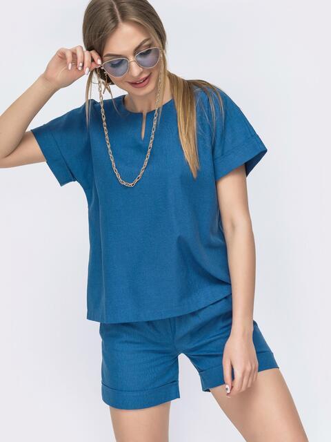 Льняной костюм синего цвета из блузки и шорт 46991, фото 1
