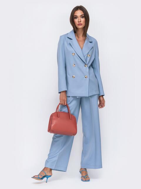 Широкие брюки голубого цвета с высокой посадкой 50095, фото 1