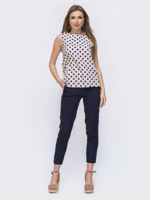 Тёмно-синий комплект из блузки в горох и брюк 46994, фото 1