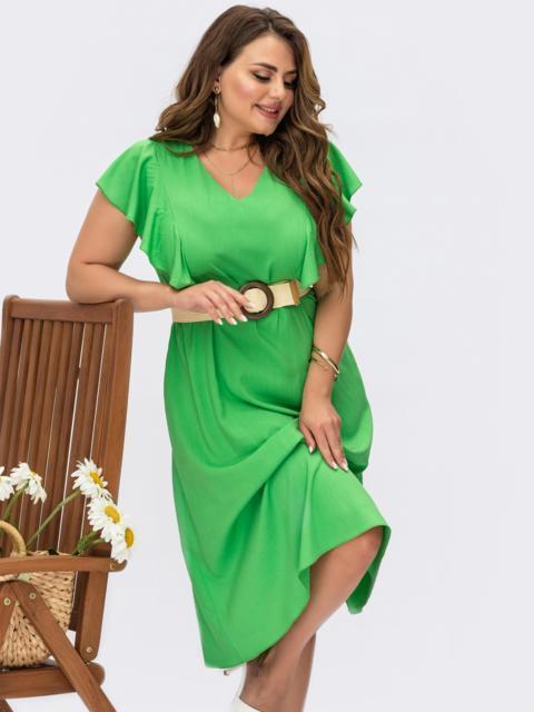 Зеленое платье батал с V-образным вырезом и оборками 54484, фото 1