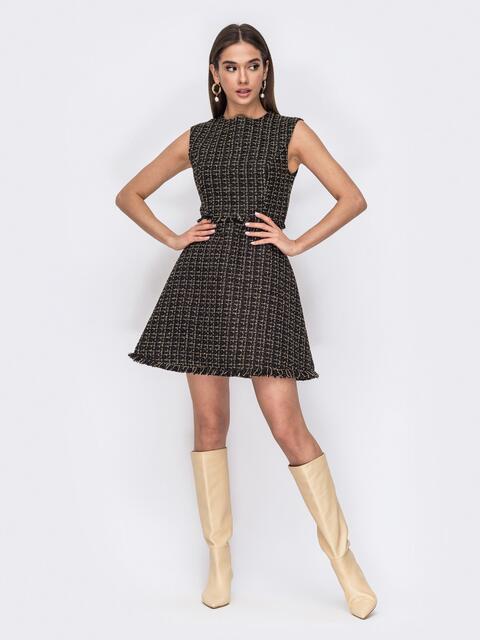 Черное платье из букле на подкладке с расклешенной юбкой 53466, фото 1