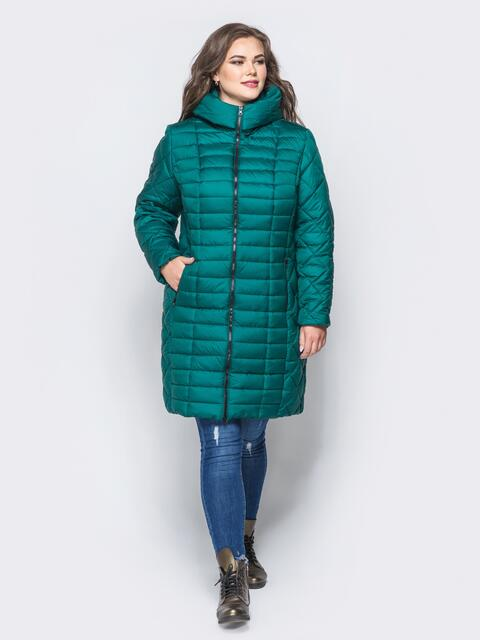 Изумрудная зимняя куртка батал на змейке 14709, фото 1